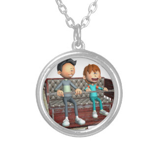 Cartoon Father and Son on a Ferris Wheel Silver Plated Necklace