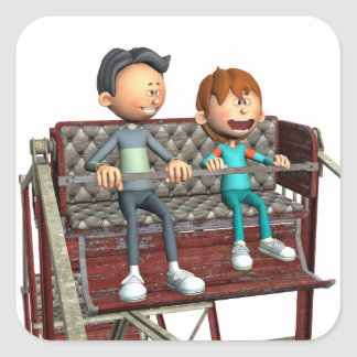 Cartoon Father and Son on a Ferris Wheel Square Sticker