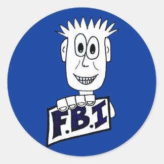 Cartoon FBI Agent Classic Round Sticker