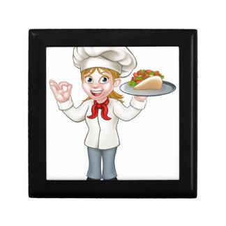 Cartoon Female Chef with Kebab Gift Box