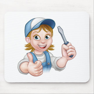 Cartoon Female Electrician Holding Screwdriver Mouse Pad