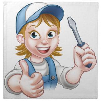 Cartoon Female Electrician Holding Screwdriver Napkin