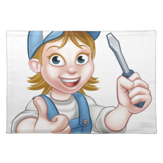Cartoon Female Electrician Holding Screwdriver Placemat