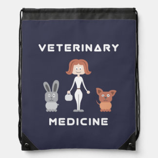 Cartoon Female Veterinary Medicine Drawstring Backpack