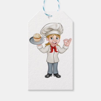 Cartoon Female Woman Baker or Pastry Chef Gift Tags