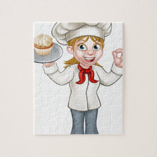 Cartoon Female Woman Baker or Pastry Chef Puzzle