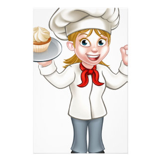 Cartoon Female Woman Baker or Pastry Chef Stationery