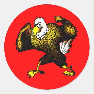 Cartoon Fighting Eagle Classic Round Sticker