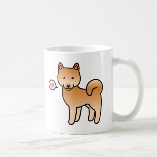 Cartoon Finnish Spitz Love Coffee Mugs