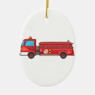 Cartoon Fire Truck/Engine Ceramic Oval Decoration
