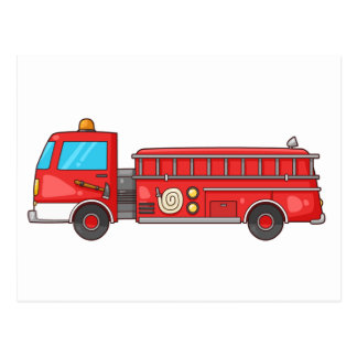 Cartoon Fire Truck/Engine Postcard