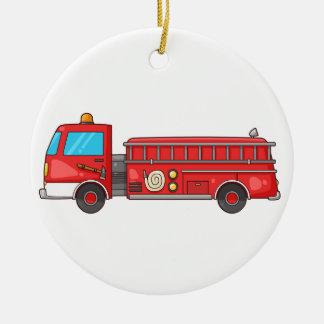 Cartoon Fire Truck/Engine Round Ceramic Decoration