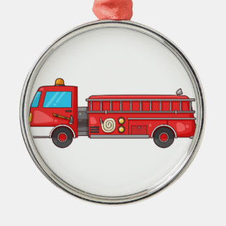Cartoon Fire Truck/Engine Silver-Colored Round Decoration