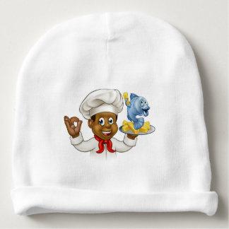 Cartoon Fish and Chips Chef Baby Beanie