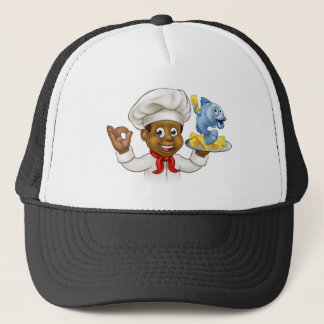 Cartoon Fish and Chips Chef Cap