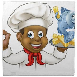 Cartoon Fish and Chips Chef Napkin