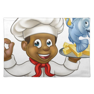 Cartoon Fish and Chips Chef Placemat