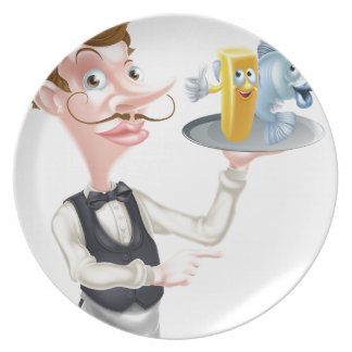 Cartoon Fish and Chips Waiter Plate