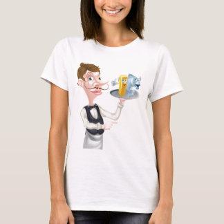 Cartoon Fish and Chips Waiter T-Shirt