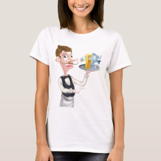 Cartoon Fish and Chips Waiter T-Shirt