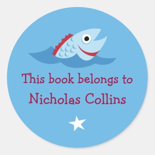 Cartoon fish blue customizable bookplates stickers