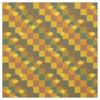 Cartoon fish on a pattern of squares. fabric