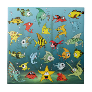 Cartoon Fish Underwater Ceramic Tile