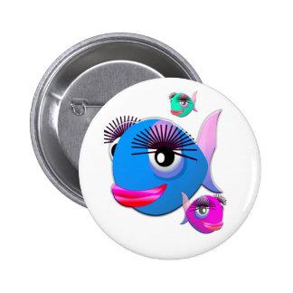Cartoon Fish with BIg Lips and Eyelashes Pin