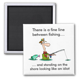 cartoon fishing.. square magnet