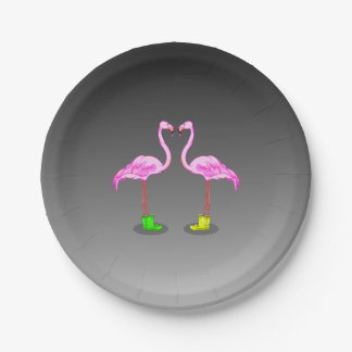 Cartoon Flamingos Wearing Colorful Winter Boots Paper Plate