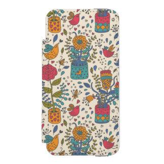 Cartoon floral pattern with birds 2 incipio watson™ iPhone 5 wallet case