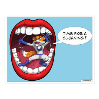 Cartoon Flossy Fox Tooth Cleaning Dentist Postcard
