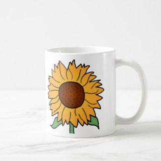 Cartoon Flowers, Summer Floral Sunflower Mugs