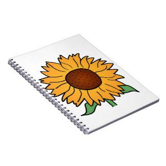 Cartoon Flowers, Summer Floral Sunflower Spiral Notebooks