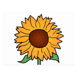 Cartoon Flowers, Summer Floral Sunflower Postcards