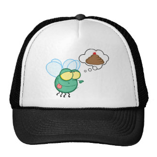 CARTOON FLY DREAMING POO CHERRY TOP FUNNY GROSS DI HATS