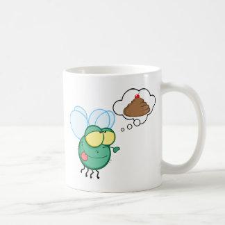 CARTOON FLY DREAMING POO CHERRY TOP FUNNY GROSS DI COFFEE MUG