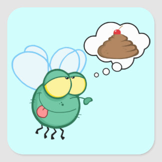 CARTOON FLY DREAMING POO CHERRY TOP FUNNY GROSS DI SQUARE STICKER