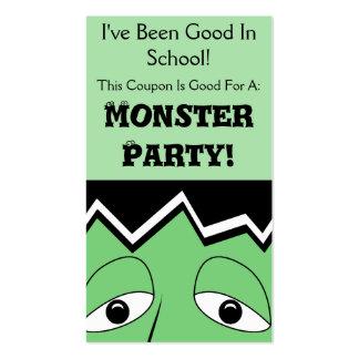 Cartoon Frankenstein Monster Face Business Card Template
