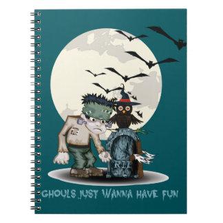 Cartoon Frankenstein next to grave Halloween Spiral Notebook