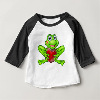 Cartoon Frog with Kiss and Love Heart Baby T-Shirt