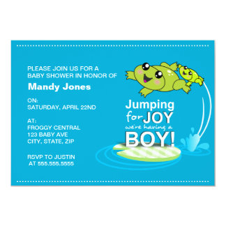 Cartoon frogs jumping for joy Blue Boy Baby Shower Card