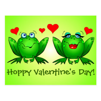 Cartoon Frogs Love Hoppy Valentines Day Green Postcard