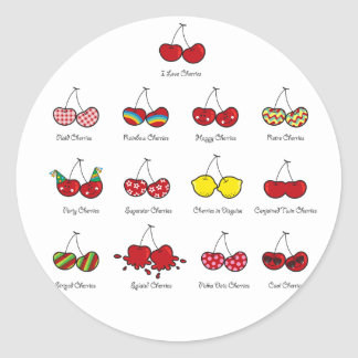 Cartoon Fun Comic Funny Cheeky Red Cherries Cherry Round Sticker