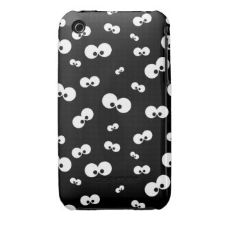 cartoon funny eyes over black background iPhone 3 Case-Mate case