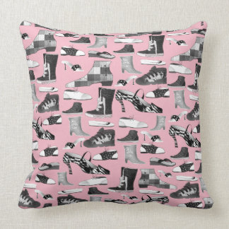 Cartoon Funny Shoes Pattern Pink Girly Chic Cute Throw Pillow