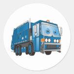 Cartoon Garbage Truck Blue Sticker