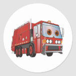 Cartoon Garbage Truck Red Round Sticker
