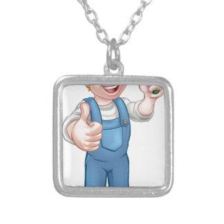 Cartoon Gardener Silver Plated Necklace