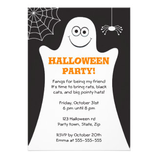 Cartoon ghost kids Halloween party invitation